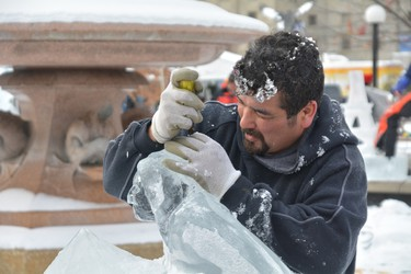 OTTAWA � Jan 31, 2014 � Ice carvers had two hours to complete a sculpture during the One Block Challenge at Confederation Park Friday morning. The event kicked off Winterlude celebrations in the city. (Chris Hofley/Ottawa Sun)