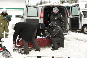 Police found two bodies at a home in Sainte-Croix, Que. They were identified as Benoit Daigle, 39, and Nancy Samson, 44. (STEVE POULIN/QMI AGENCY)