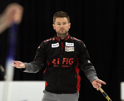 Skip Mike McEwen reacts to a missed shot during his 8-3 loss to Jeff Stoughton in the Safeway Select men's curling final in Winnipeg, Man. Sunday February 02, 2014. Brian Donogh/Winnipeg Sun/QMI Agency