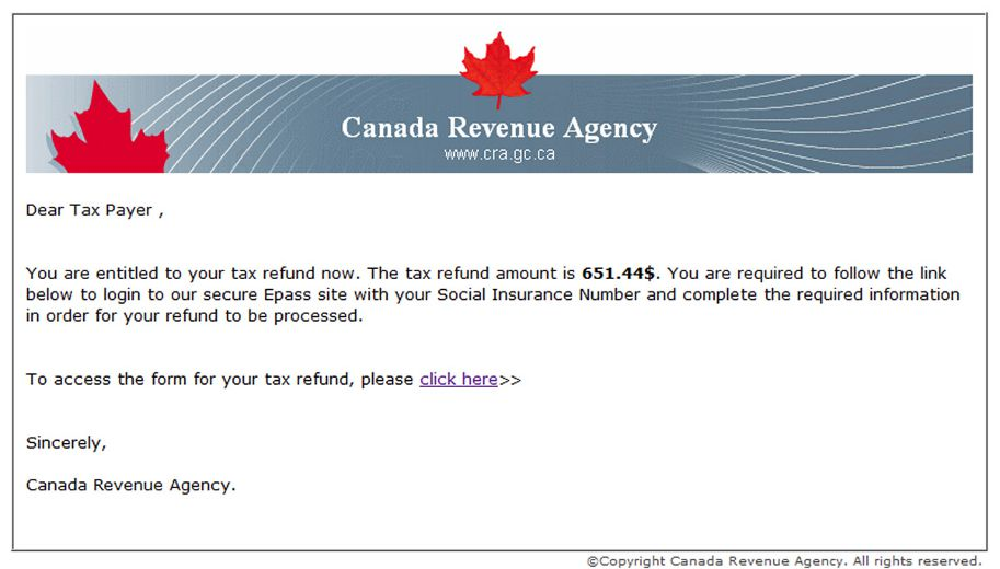 news canada revenue agency email scams season
