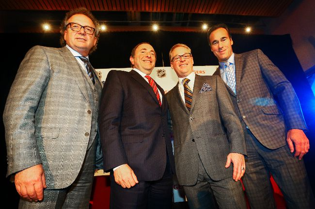 (L-R) Robert Depatie, President and CEO of Quebecor, Gary Bettman, commissioner of the National Hockey League, Keith  Pelley, President of Rogers Media and Pierre Dion, President and CEO of TVA group on February 4, 2014. (Dave Abel/Toronto Sun/QMI Agency)
