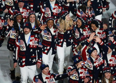 """USA Ralph Lauren-designed, the outfits aren't a fan favourite -  so far. The sweater conveys preppy-chic more than tough-fought-battle-athlete, if we can be honest. It's more Vale, Colorado than Sochi, Russia.  Not that anything's wrong with that, of course.(REUTERS/Phil Noble and Ralph Lauren/Handout)   PDRTJS_settings_7441995 = { """"id"""" : """"7441995"""", """"unique_id"""" : """"default"""", """"title"""" : """""""", """"permalink"""" : """""""" };"""