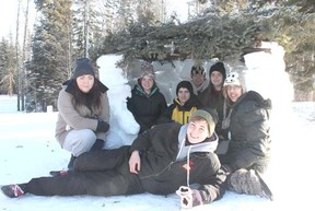 Drayton Valley Rotary Interact members spent 24 hours in the elements to help raise funds for ShelterBoxes to assist people in the Philippines still without the basic necessities after Typhoon Haiyan last year. The group from left to right: Joleen Starrett, Amanda Smith, Justin Mazurek, Michelle Dressler, Emily Alger Alicia Potter and Colton Chamberlain (front, centre).