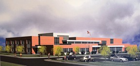 A TVDSB conceptual design, created by Dickson Partnership Incorporated Architects, for a proposed new Tillsonburg public school.