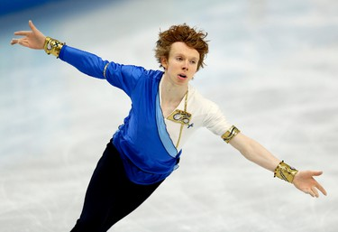 Kevin Reynolds of Coquitlam, B.C., performs during the Sochi 2014 Winter Olympic Men's Figure Skating Free Program at the Iceberg Skating Palace in Sochi, Russia, on Friday Feb. 14, 2014. Reynolds scored 153.47 in the free program with a final score of 226.37, his season high. Al Charest/Calgary Sun/QMI Agency