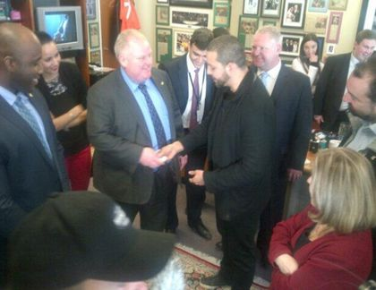 Mayor Rob Ford tweeted out this photo of magician David Blaine in his office on Friday.