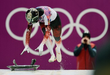 QMI PHOTOS OF THE WEEK FEB 14TH - Canada's Sarah Reid of Calgary, AB  in action at her second run during the women's skeleton at the Sanki Sliding Center, in Sochi, Russia, on Thursday February 13, 2014. Didier Debusschere/Journal de Quebec/Agence QMI