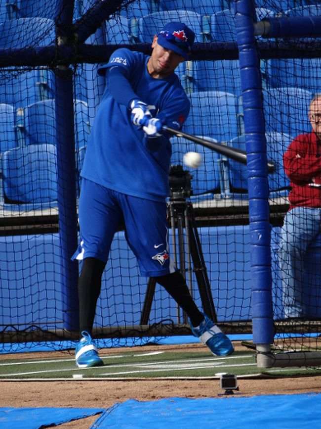 Second baseman Ryan Goins takes some hacks at training camp in Dunedin yesterday. (Eddie Michels/photo)
