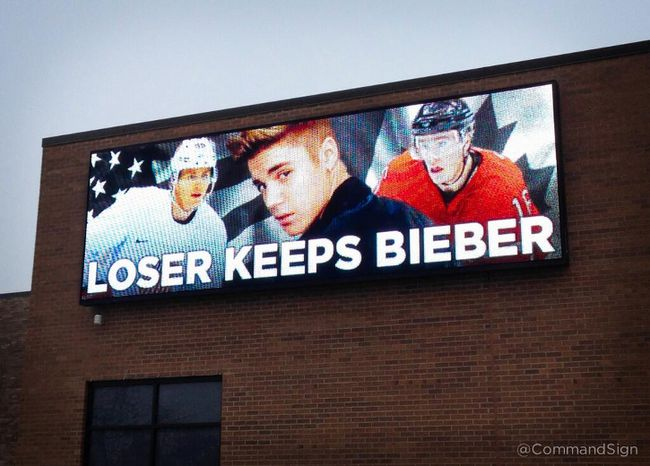 A Chicago-based company created this billboard in anticipation of Friday's Olympic semifinal hockey game between Canada and the U.S. (@CommandSign)