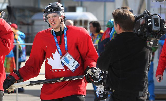 Team Canada's Sidney Crosby walks back to the Bolshoy Ice Dome after practice during, the 2014 Olympic Winter Games in Sochi, Russia, Feb. 20, 2014. (AL CHAREST/QMI Agency)
