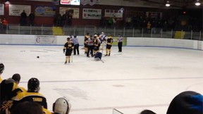 The RCMP had to intervene during a senior hockey game in New Brunswick on February 19, 2014. (TVA screengrab/QMI Agency)