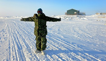 Pamela Roth on assignment in Kugaaruk, Nunavut for the military's Exercise Arctic Ram. Members of the media were invited to embed with the Canadian Armed Forces during Arctic training in Kugaaruk, Nunavut. Approximately 500 soldiers are there as part of Exercise Arctic Ram. (Pamela Roth/QMI Agency)