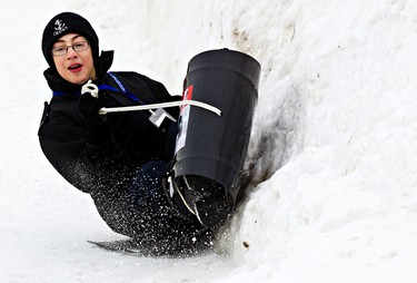 Mathew Brooks, 12, tries out the snow luge during the Silver Skate Festival in Hawrelak Park in Edmonton, Alta., on Sunday, Feb. 16, 2014. Codie McLachlan/Edmonton Sun/QMI Agency