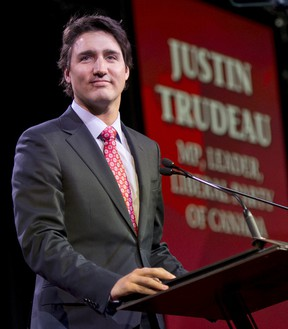 The leader of the Liberal Party of Canada, Justin Trudeau, during his speech at the Biennial Convention of the Liberal Party of Canada at the Palais des Congrès in Montreal this Saturday, February 22, 2014. JOEL LEMAY / QMI AGENCY