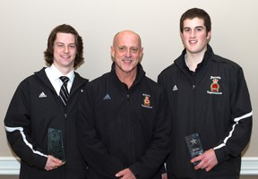 Two members of the Sarnia Legionnaires came home from the annual Western Jr. 'B' awards banquet in London this week with hardware. Here, Ryan Vendramin, right, shows off his award for offensive player of the month while Josh Kestner holds his award as a first team all-star. In the centre is Legionnaires head coach Dan Rose. PHOTO COURTESY OF ANNE TIGWELL