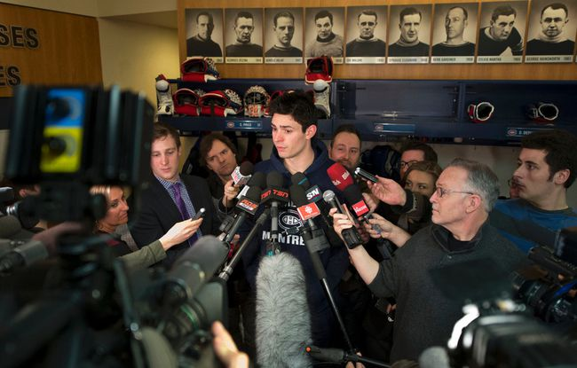 Carey Price talks to the media Monday, Feb. 24, 2014. (MARTIN CHEVALIER/Le Journal De Montreal/QMI Agency)