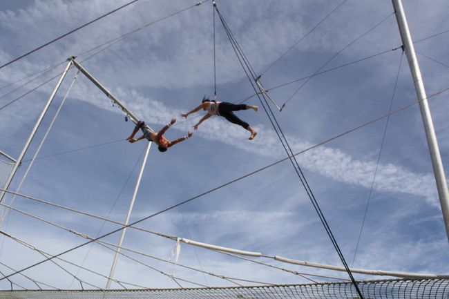 An adventurous guest at Club Med Sandpiper Bay learns some death-defying tricks from professional trapeze artists at the resort's circus school. (Sheena Goodyear/QMI Agency)