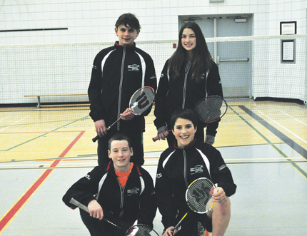 Clockwise (from top left): Riley Sveistrup, Shayne Nichols, Reilly Funk, and Luke Foley are four Portagers representing the Central region in badminton at the Manitoba Winter Games, beginning Monday. Gladstone's Keiana Fehr will also compete.