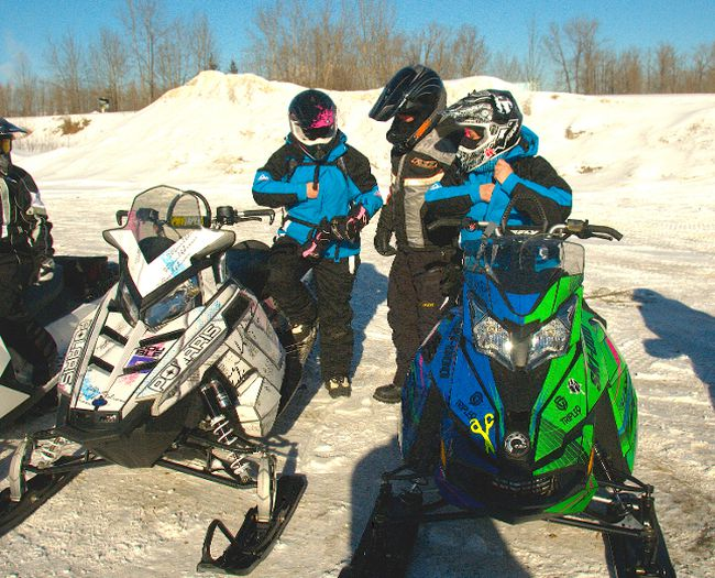 Stephanie Schwartz and Darcie Downey passed through Whitecourt on their snowmobile run from Athabasca, Alta. to Tumbler Ridge, B.C. to raise money for the Canadian Cancer Society. They have done this type of charity run several times because they say everyone has been touched by cancer in some way.