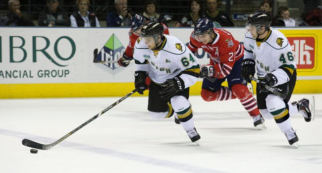 London Knights Ryan Rupert, and his identical twin Matt, charge up the ice during an OHL game earlier this season. (Free Press file photo)