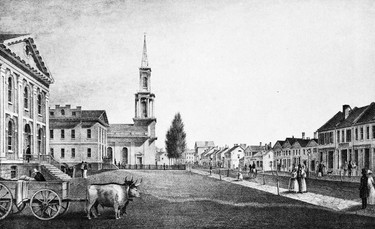 King St. looking east to Church St, 1835. This sketch by Thomas Young was drawn the year following Toronto's incorporation as a city in early 1834. It shows (left to right) the jail, courthouse and St. James Church as well as the shops along south side of King St. The artist took some license with the church giving it a handsome spire which it never had. In fact, following a major fire in 1839 there was no church at all. Later that year a new St. James was completed. It would be designated the first St James Cathedral. The present stately Cathedral opened in 1853.