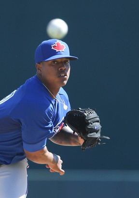 Blue Jays pitching prospect Marcus Stroman pitched out of a jam against the Orioles in Sarasota on Saturday, displaying a confident streak that could help him land regular MLB work. (VERONICA HENRI/TORONTO SUN)