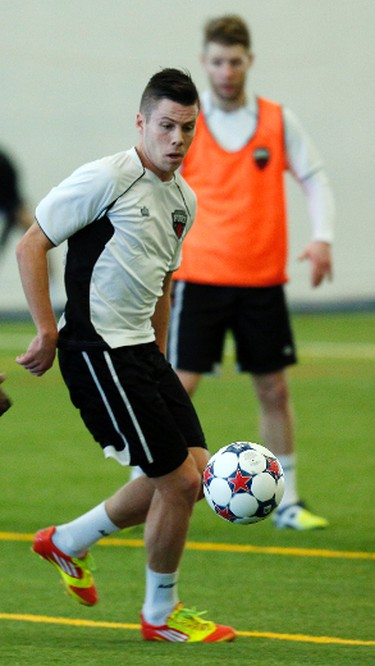Ottawa Fury Football Club's Carl Haworth practices during training camp at the Complexe Branchard-Briere in Gatineau, QC. on Monday March 3, 2014. Darren Brown/Ottawa Sun/QMI Agency