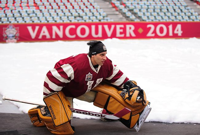 """The closest that Vancouver Canucks goalie Roberto Luongo got to the ice on the weekend at BC Place was during his team's workout the day before the Heritage Classic. The situation left the veteran netminder """"not happy,"""" according to his coach. (ANNE-MARIE SORVIN/USA Today Sports)"""