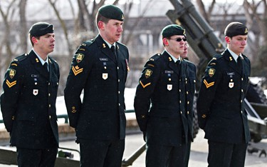 Members of the 20th Field Regiment after the 21 gun salute prior to the throne speech at the Alberta Legislature Building in Edmonton, Alta., on Monday, March 3, 2014. Codie McLachlan/Edmonton Sun/QMI Agency