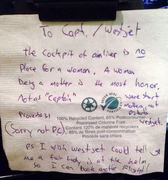 A note left on a napkin for a female WestJet pilot is pictured in this undated photo. The man was travelling on a Calgary to Victoria flight piloted by Capt. Carey Steacy. (Handout/QMI Agency)