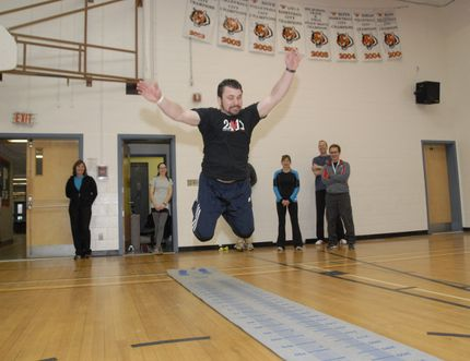 Jarrod Leach, a St. Joseph High School gym teacher goes for a long jump at the Mighty Peace Teachers' Convention in 2012. This year's edition gets underway on Thursday. GRAEME BRUCE/DAILY HERALD-TRIBUNE FILE/QMI AGENCY