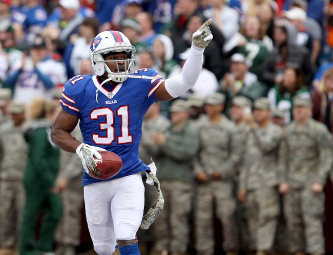 Buffalo Bills free safety Jairus Byrd celebrates an interception against the New York Jets at Ralph Wilson Stadium in Orchard Park, N.Y., Nov. 17, 2013. (TIMOTHY T. LUDWIG/USA Today)