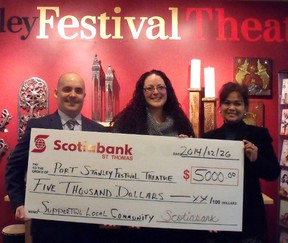 Scotiabank St. Thomas has signed on as a season sponsor for Port Stanley Festival Theatre. Presenting a cheque to theatre manager Melissa Kempf, centre, are Jason Dykes, left, Scotiabank financial advisor, and Maria Santos, branch manager. Also a season sponsor is Elgin County Tourism. (Contributed/Port Stanley Festival Theatre)
