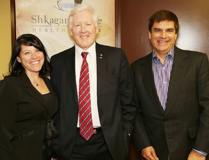 JOHN LAPPA/THE SUDBURY STAR Former politician Bob Rae, middle, meets with Angela Recollet, executive director of the Shkagamik-Kwe Health Centre, and Hans Matthews, board chair of the centre, at the health centre on Thursday.