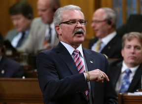 Canada's Agriculture Minister Gerry Ritz speaks during Question Period in the House of Commons on Parliament Hill in Ottawa March 3, 2014. (REUTERS/Chris Wattie)