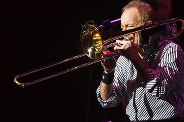 James Pankow with Chicago plays his trombone at the Winspear Centre in Edmonton, Alta., on Monday, March 10, 2014. The American band was recently inducted into the Grammy Hall of Fame. Ian Kucerak/Edmonton Sun/QMI Agency