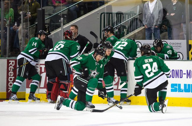 Play was stopped during Monday's game between the Dallas Stars and Columbus Blue Jackets while medical staff treated Rich Peverley (not pictured) at the American Airlines Center in Dallas, March 10, 2014. (JEROME MIRON/USA Today)