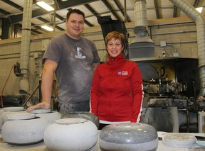 As part of the Canada Curling Stone Co. in Lobo, Wayne and Kimberly Tuck help produce curling stones and products used by top professionals and clubs across the country and beyond. JACOB ROBINSON/AGE DISPATCH/QMI AGENCY
