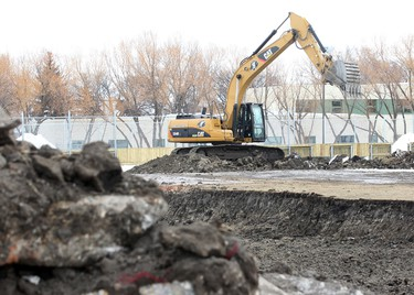 A piece of construction equipment sits at the site of the new arena at the Garden City Community Club in Winnipeg, Man. Thursday March 13, 2013. Brian Donogh/Winnipeg Sun/QMI Agency