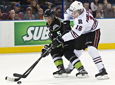 Edmonton's Ashton Sautner is harassed by Red Deer's Grayson Pawlenchuk during the first period of the Edmonton Oil Kings' WHL hockey game against the Red Deer Rebels at Rexall Place in Edmonton, Alta., on Sunday, March 16, 2014. Codie McLachlan/Edmonton Sun/QMI Agency