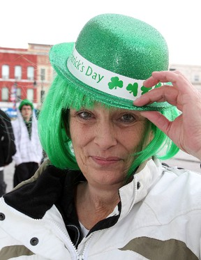 Jayne Fisher of Lyndhurst wears a green hat and wig as she celebrated St. Patrick's Day at the Tir Nan Og in Kingston on Monday. The Irish bar charged a $5 cover which was donated to the Kingston  Irish Folk Club.  IAN MACALPINE/KINGSTON WHIG-STANDARD/QMI AGENCY