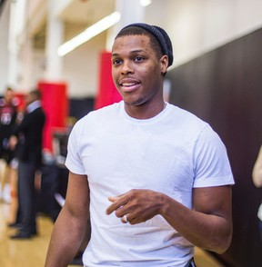 Kyle Lowry was in his civilian clothes at Raptors practice yesterday due to flu-like symptoms. (Ernest Doroszuk/Toronto Sun)