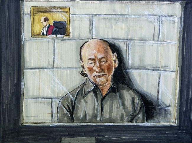 Robert William Pickton appears in an artist's sketch via video conference in New Westminster, British Columbia May 25, 2005. (REUTERS/FELICITY DON)