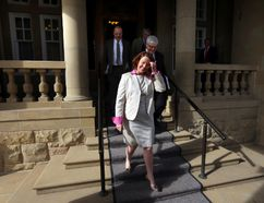 Premier Alison Redford leaves Government House after a caucus meeting in Edmonton, Alberta on Monday, March 17, 2014. (Perry Mah/QMI Agency)