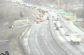 A police investigation closed the southbound lanes of the Don Valley Parkway at the Bayview-Bloor exit on Wednesday morning. (RESCU Traffic Cameras screengrab)