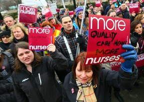 Registered Nurses protest at Queen's Park on March 19, 2014. (Dave Abel/Toronto Sun)
