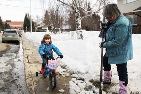 A sure sign that Spring is just around the corner. As grandmother Sharron Pope chops some ice in front of her home in Grand Prairie, Alta. on Wednesday, March 19, 2014, as her four-year-old granddaughter Logan gets her bike out for the first time this year. (JESSE THOMAS/QMI AGENCY)