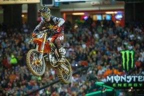 Brigden's Cole Thompson is competing at the Monster Energy Supercross at the Rogers Centre in Toronto this Saturday. He is currently 7th in points on the circuit with four races remaining in the season. PHOTO COURTESY Hoppenworld.com