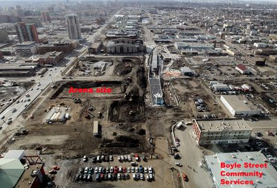 Construction is visible on the new downtown arena site (left) and MacEwan LRT station (right), between 105 Avenue and 104 Avenue south of 101 Street, in Edmonton Alta., on Wednesday March 19, 2014. David Bloom/Edmonton Sun/QMI Agency