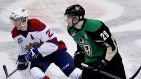 The Edmonton Oil Kings Curtis Lazar (27) and the Prince Albert Raiders Leon Draisaitl (29) during third period WHL action at Rexall Place, in Edmonton Alta., on Saturday March 22, 2014. David Bloom/Edmonton Sun/QMI Agency